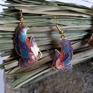 Vintage Cloisonne Earrings Butterfly Earrings Bug